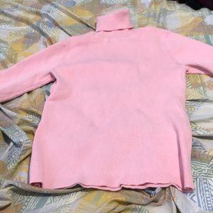 Pink Turtleneck Ribbed Top
